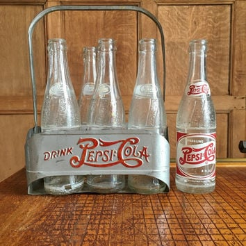 Vintage Double Dot Pepsi Six Pack Carrier, Aluminum Pepsi Carrier With Bottles, Two Dot Pepsi, 1940s