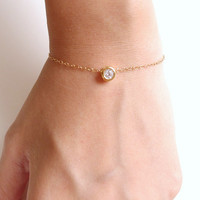 Le Petite bracelet - 14K Gold Filled Crystal Bracelet - Dainty Everyday Jewelry