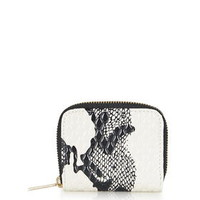 Contrast Snake Effect Purse - Black