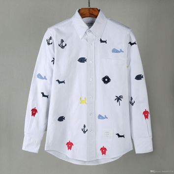 new TB classic men Embroidery Shirts fashion long sleeve casual shirts high quality USA designer TB soft cotton shirt
