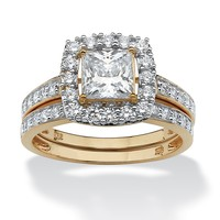 1.93 TCW Princess-Cut Cubic Zirconia 18k Gold over Sterling Silver Wedding Ring Set