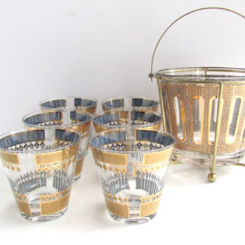 vintage mid century culver barware set. hollywood regency gold drinking glasses ice bucket caddy