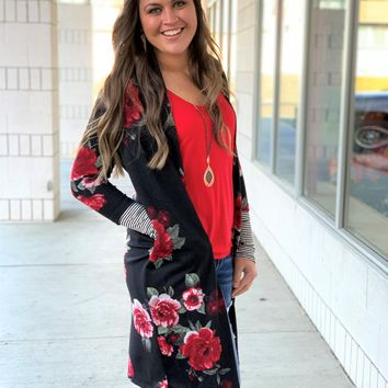 Black Floral Cardigan Duster