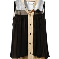 Allegra K Women Single Breasted Brooch Decor Chiffon Color Patchwork Shirt