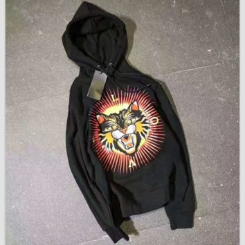 GUCCI Fashion Unisex Graffiti Monogram Print Cotton Long Sleeve Hooded Sweater G-A-GHSY-1