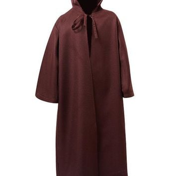 2016 New Arrive Star Wars Kenobi Jedi Cloak Cosplay Costume Robe Child Version Brown Hooded Cape Cloak Halloween Costumes