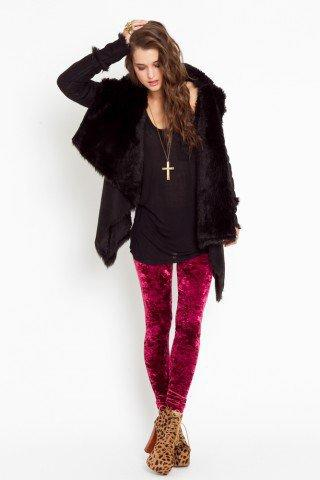 Crushed Velvet Leggings - Wine - NASTY GAL