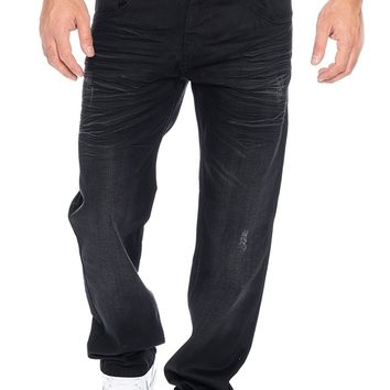 Rock Creek men's jeans pants straight-cut men's trousers black LL-303 W29-W44
