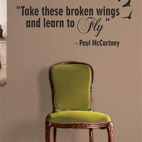 Learn to Fly The Beatles Paul McCartney Quote Decal Sticker Wall Vinyl Music