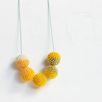 Yellow Halves Necklace Sunny Beaded Beads by SarahRobinL on Etsy