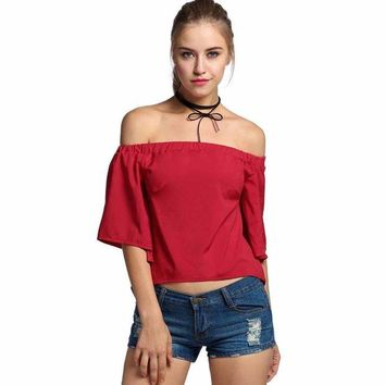 DCCKXN2 Casual Summer Off Shoulder Backless Open Back Women Blouse Feminine Shirt Femininas Top Clothing Clothes Female Femme Lady Tunic