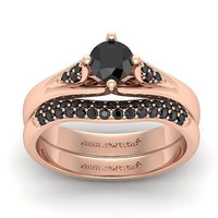 AMAZING 1.35CT BLACK ROUND 925 ROSE STERLING SILVER ENGAGEMENT AND WEDDING RING