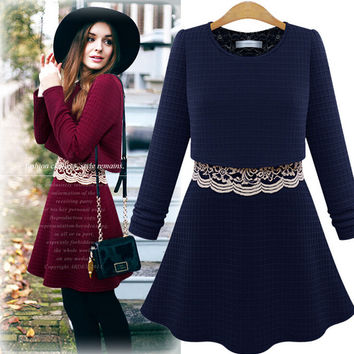 Lace Stitching Long-Sleeved Dress