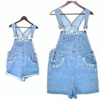 90s grunge OVERALLS vintage early 1990s RAINBOW floral daisy embroidery DENIM shortalls overall shorts os