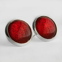 Ruby Slippers Post Earrings in Silver - Red Glitter Glittery Christmas Dorothy Earrings