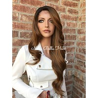 Brown Ombre Human Hair Blend Full Wig 20""