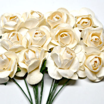 Ivory Paper Roses/Mixed Media Roses/Small Paper Roses/Brown Distressed Roses/12 Paper Roses