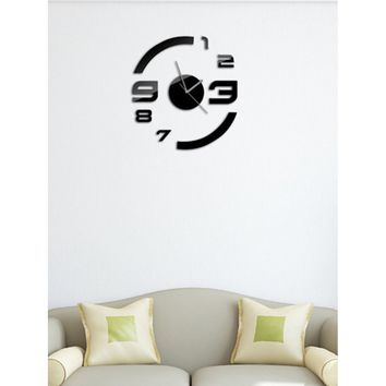 Number Clock Mirror Wall Sticker 9pcs