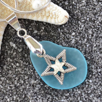 Sea glass necklace, texas necklace, lone star, blue necklace,star charm necklace, beach jewelry, summer necklace, pendant necklace,boho chic