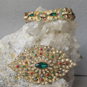 RARE 1930's Art Deco Gold Plated Pot Metal PEACOCK Feather Rhinestone Brooch & Bracelet Set, Vintage Demi Parure