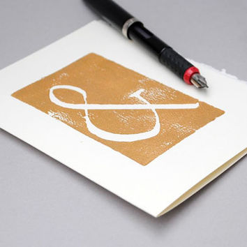 Copper Ampersand Notecard Typography Block Print by CursiveArts