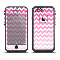 The Pink & White Ombre Chevron Pattern Apple iPhone 6 LifeProof Fre Case Skin Set