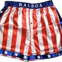 Rocky Balboa Mens Apollo Movie Boxing American Flag Shorts