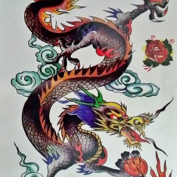 Chinese Dragon Temporary Tattoo multi-color unisex