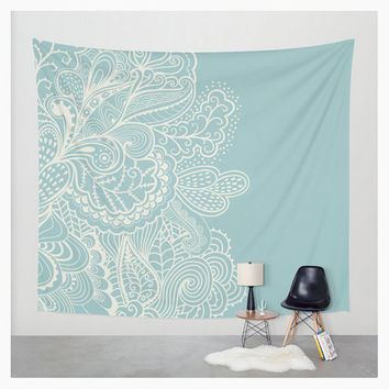 Wall Tapestry Mehndi Whimsical Design Teal Light Soft Blue Off White Cream Boho Bohemian Dorm Room Home Decor