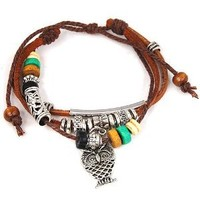 World Pride Owl Pendant Wood Multicolor Beads Adjustable Drawstring Wirstband Leather Bracelet