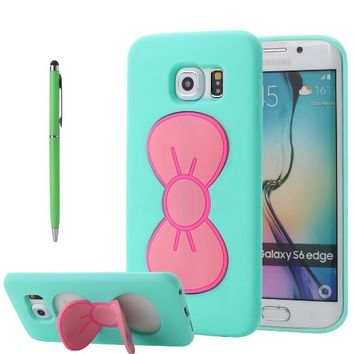 Galaxy S6 Edge Case, PandawellTM Slim Thin Fashion Lovely Girls Shock Absorption Soft TPU Cute Bowknot Kickstand Case Cover for Samsung Galaxy S6 Edge with Screen Protector & Ball-point Stylus Pen (Bowknot-Mint Green)