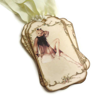 Lingerie Shower Tags, Bachelorette Party Tags, Lingerie Favor Tags, Hen Party, Retro Pin Up Girl Tags, Set of 6