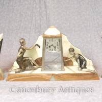 Canonbury - French Antique Art Deco Mantle Clock Set Spelter Figurine 1920s Marble Urns