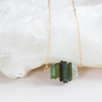 Green Tourmaline Crystal Bar Necklace on Gold Filled Chain, Delicate Tourmaline Jewelry, Raw Tourmaline Crystal