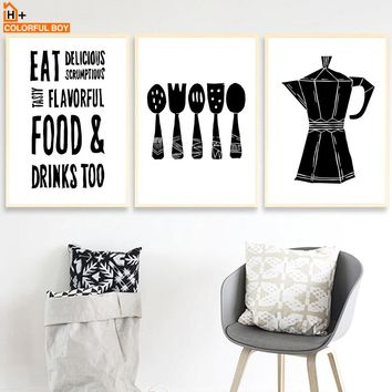 Teapot knife Fork Wall Art Canvas Painting Nordic Posters And Prints Black White Wall Pictures kitchen Restaurant Hotel Decor