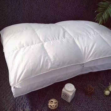 Double-deck button Sleep pillow for bed,1pc goose down+microfiber filler,soft neck pillow,white solid color bedding 48x74cm
