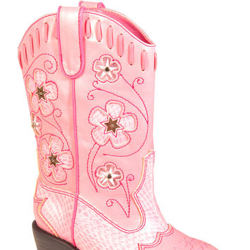 ROPER INFANT WESTERN LIGHT MOTION ACTIVATED BOOTS PINK W PINK PIPING LIGHTED BOOTS
