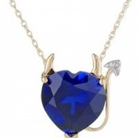14k Yellow Gold Created Sapphire Heart Devil Necklace @ Jewelry Wonder