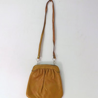 Vintage REtro 1980s 90s Tan Butterscotch Soft Leather Pouch Purse Small Light Boho Rocker Chic Bag Festival Satchel Grunge Punk Indie Urban