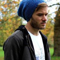 Men's Slouchy Beanie Hat  Slate Blue Hand Knitted Hat Lightweight Chunky Hat Winter Men s Fashion Accessories