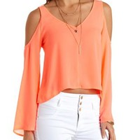 Cold Shoulder Bell Sleeve Top by Charlotte Russe