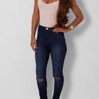 Lovato Dark Blue High Waisted Ripped Skinny Jeans | Pink Boutique
