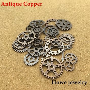 Mixed 100g Antique copper steampunk gears and cogs clock hands jewelry fingings