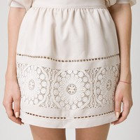 Beige Delicate Crochet Skirt with Cut Out Detail