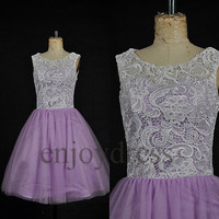 Custom White Lace Lavender Tulle Short Prom Dresses Ball Gowns Evening Dress Party Dresses Bridemaid dresses 2014 Homecoming Dresses