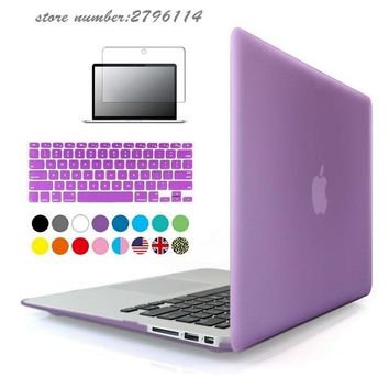 Transparent Crystal/Matte Case For macbook Air 11 13 laptop bag For Mac book Pro Retina 12 13.3 15.4 keyboard cover+screen film