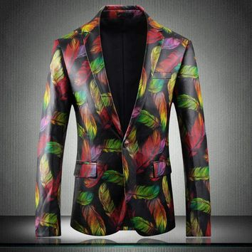 Leather Blazer Mens Multicolor Pu Blazers Male Stylish Feather Printed Faux Leather Jacket Coat Slim Fit Costume