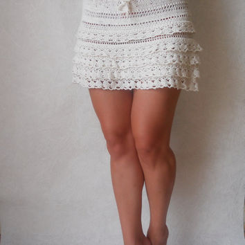 Summer Waves crochet mini skirt in white Ruffle Hand Knit Lace beach skirt, 100% cotton
