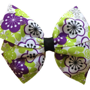 Ready to ship Purple & green flower hair bow - flower bow