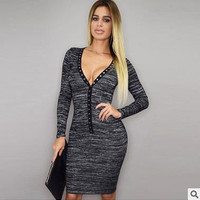 Women's Trending Popular Fashion 2016 Sexy Slim V Neck Erotic Casual Party Playsuit Clubwear Bodycon Boho Dress _ 9176